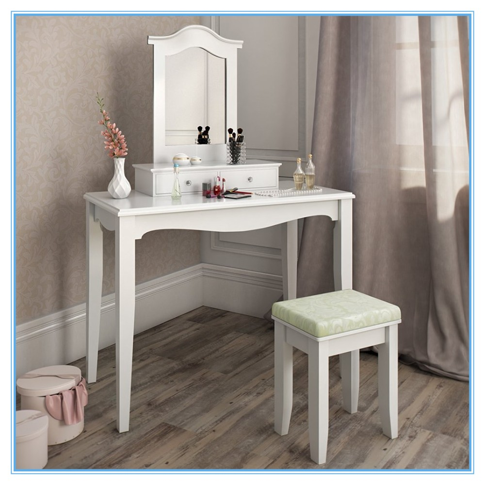Cheap wooden dressing table makeup vanity table set with for Cheap vanity table set