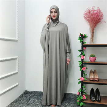 Newest 65%cotton 35% polyester material grey Muslim pray  abaya with fashion sleeves