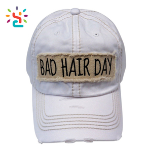 Embroidered white Bad Hair Day Frayed Patch Washed Vintage Baseball Cap character dad Hat