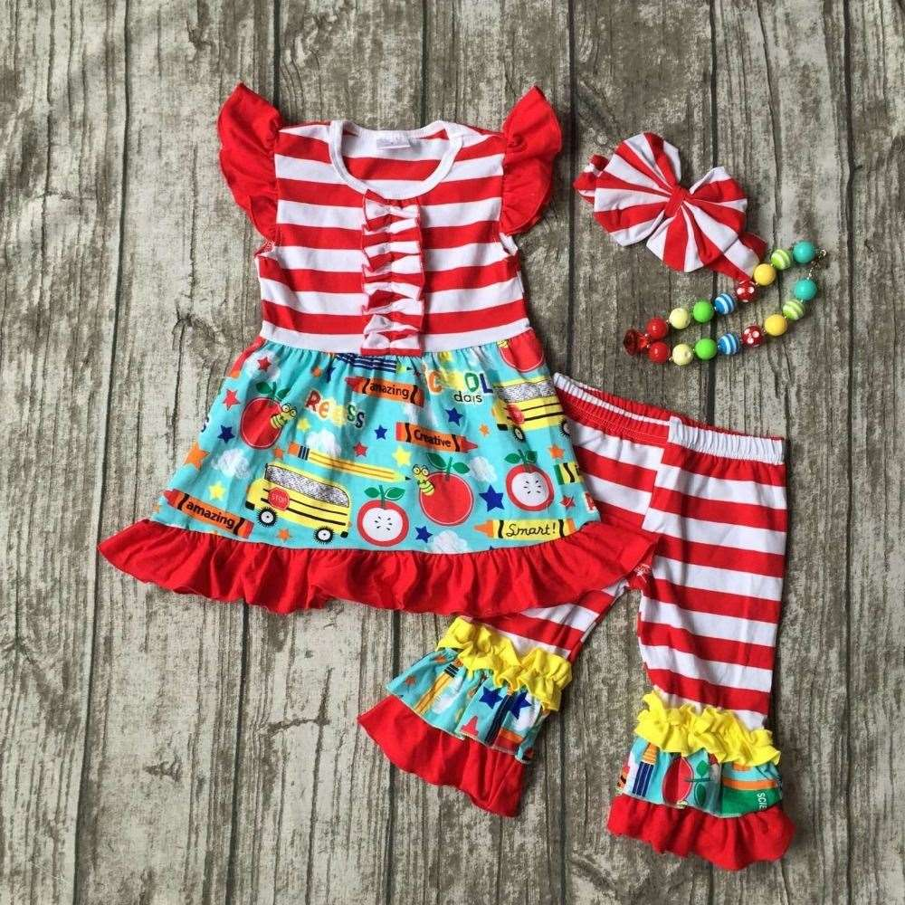 4ddf2623 kid girls boutique clothing baby girls back to school clothes children car  to school outfits stripe