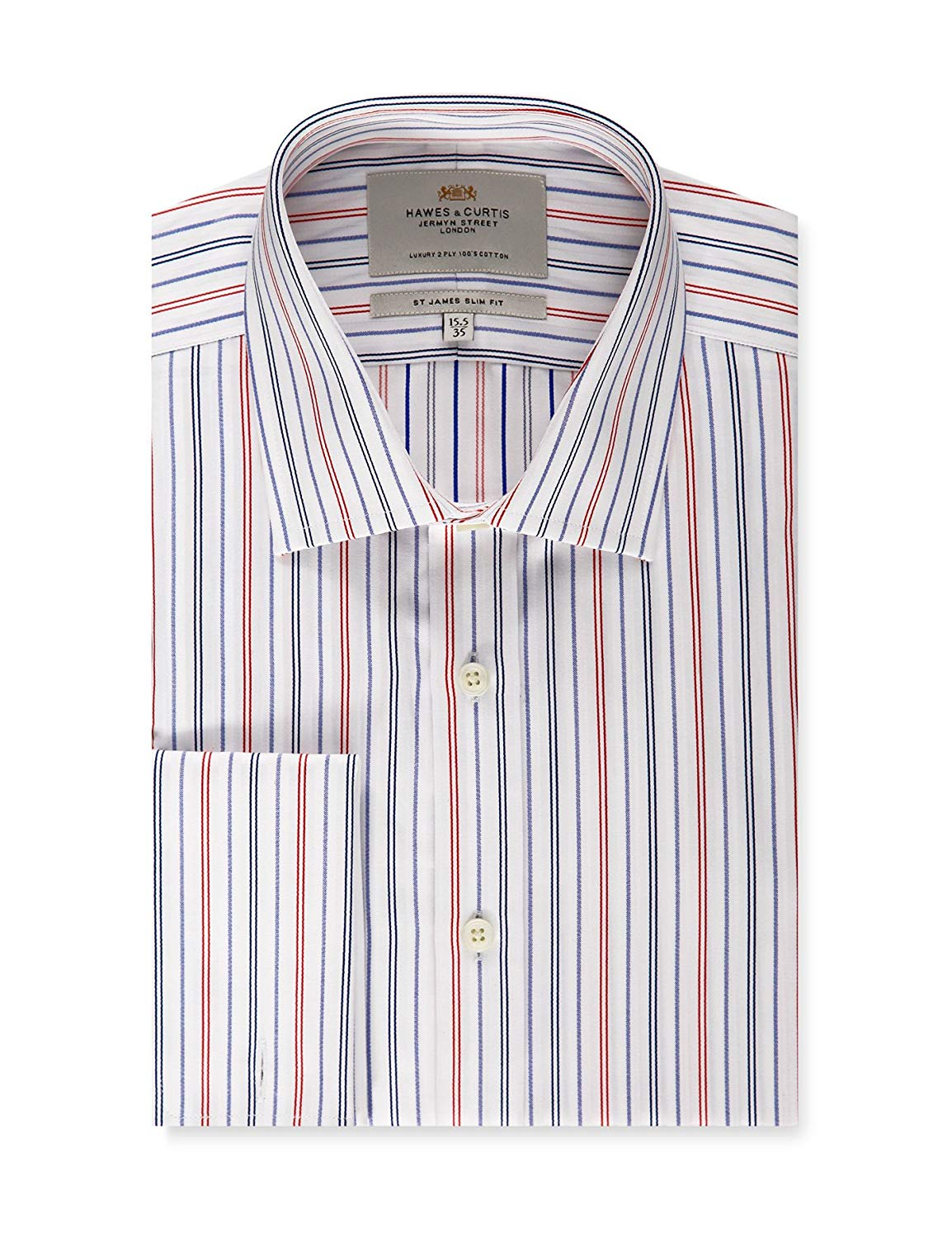 f3e0634671b Get Quotations · HAWES   CURTIS Mens Blue   Red Multi Stripe Slim Fit Dress  Shirt - Double Cuff