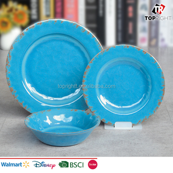 Melamine Plate Bowl Dinnerware Set Light Blue