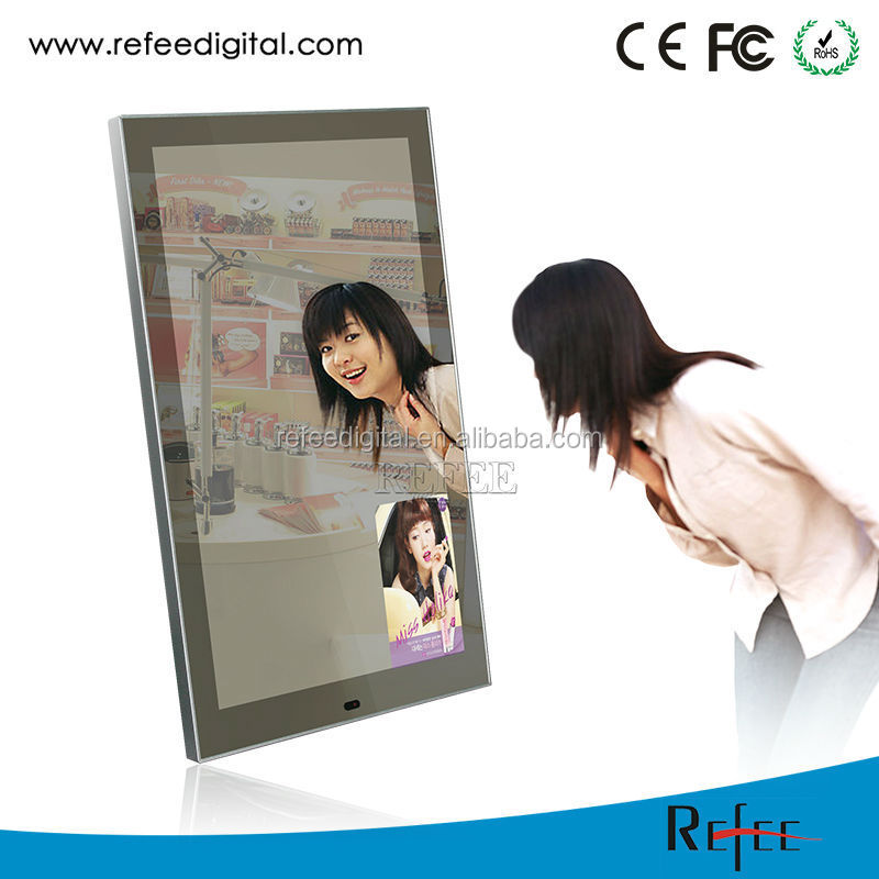 Wall mount motion sensor magic mirror advertising player touch screen
