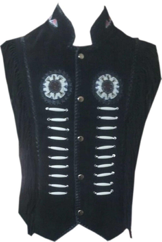 LEATHERAY Mens Fashion Western Cowboy Fringe Jacket Suede Leather Black