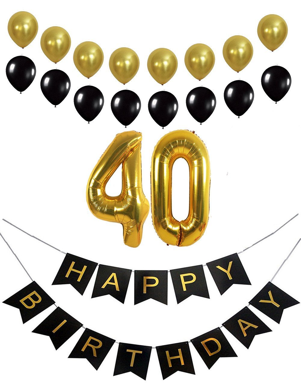 40th Birthday Decorations Banner Mylar Number Balloons Happy For