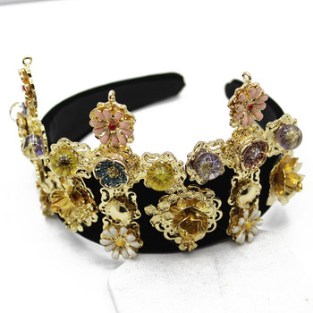 Europe Baroque Style Gem black Flowers Cross Crowen banquet Hairband women Hair accessories Show Jewelry