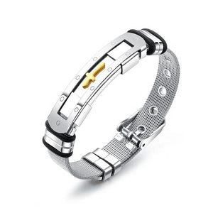Steel Mesh Gold Cross Titanium Steel Men's Bracelet Adjustable Men Watchband