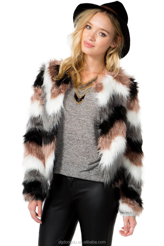 fe31e4c244 Fully Lined Open Front Multicolor Zig Zag Faux Fur Coat Women - Buy ...