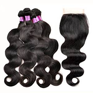 "Passion Beauty Mixed Length Brazilian Virgin Remy Human Hair Extension Weave 4 Bundles With Free Closure - Natural Black,Body Wave (20""22""24""26""+20"")"