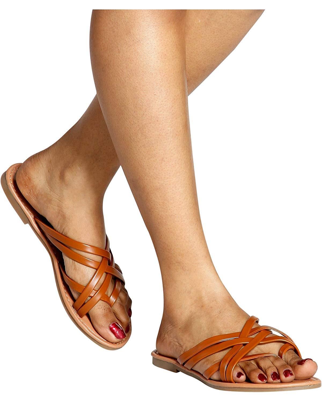 Wells Women's Casual Open Toe Strappy Slip On Sandal/Slides