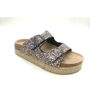 Latest Sandalias Mujer Glitter High Heel Flat Espadrilles Platform Sandals for Women and Ladies