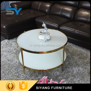 Two Tier Glass Round Tea Table Stainless Steel Italian Coffee Table