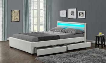 Lagerung Doppel Größe Multi Farbe LED Weißen Weichen Pu Leder Moderne  Schlafzimmer Möbel Led Bett