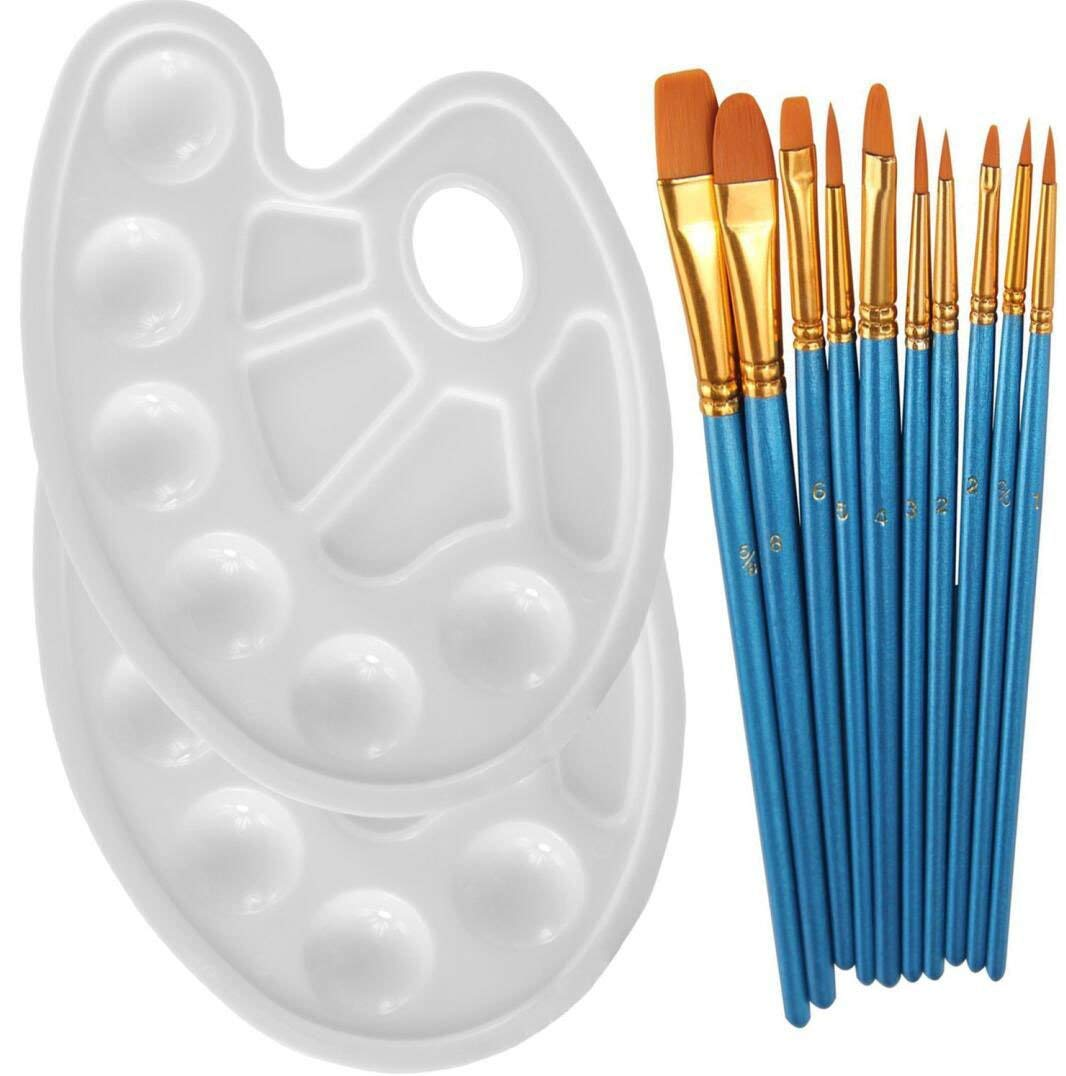 Omio 10 Pieces Artist Round Pointed Tip Nylon Hair Painting Brush Set Wooden Pen Holder Gold Bronze 10pcs Professional Multifunctional Paint Brushes With 2 Paint Tray Palettes