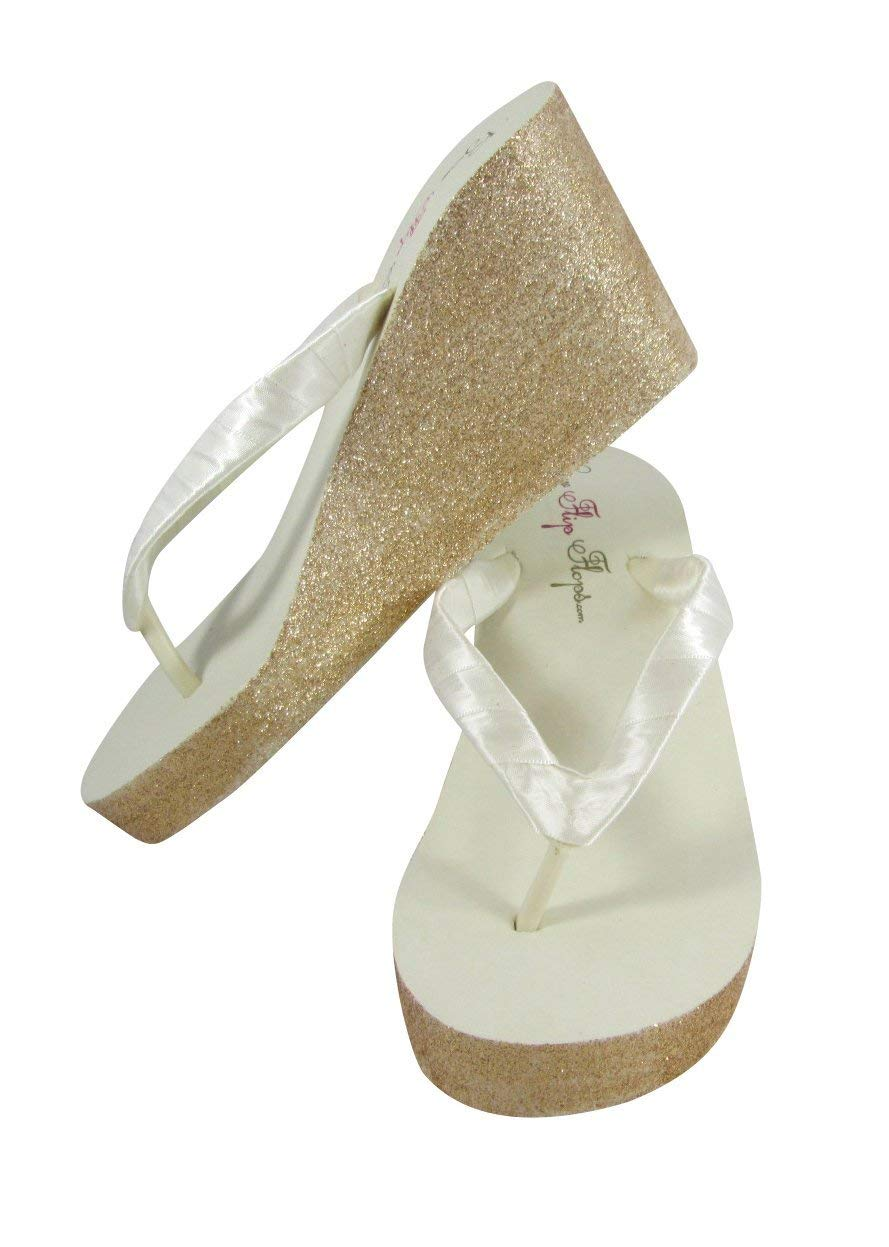 f4d3694c40a Get Quotations · High Ivory Wedge Flip Flops with Gold Glitter Bling Sides  - or customize with silver