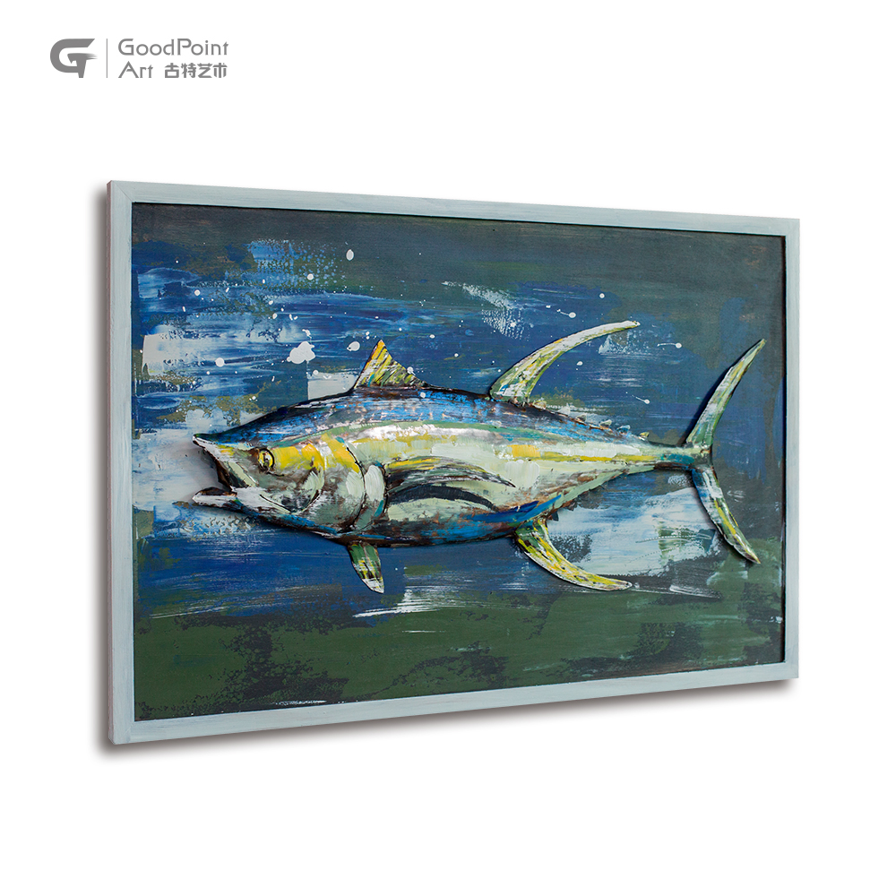 Fish products 2019 custom 3d fish pictures retro animal oil metal painting artist
