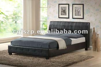 Warm te koop houten dubbele bedframe eenvoudig bed ontwerpen faux