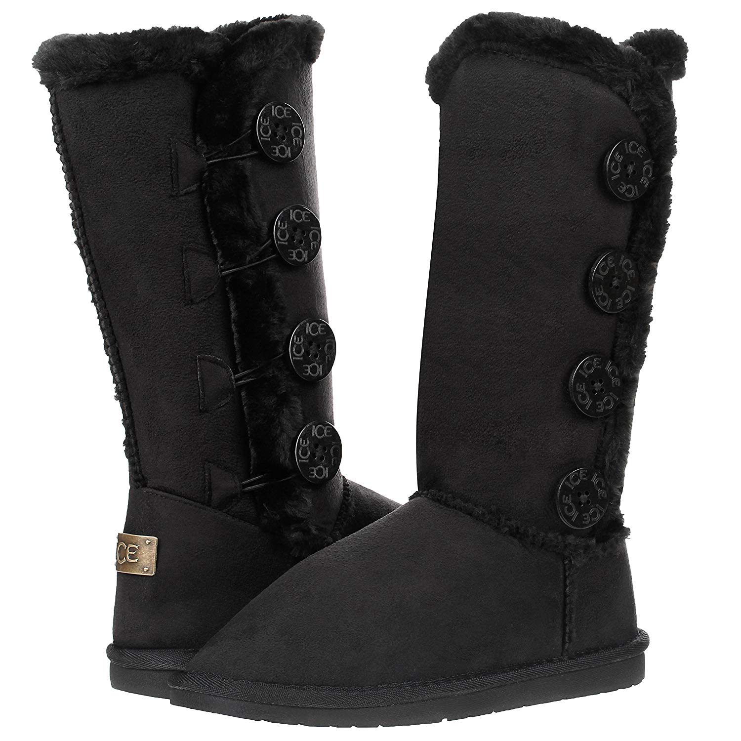 c3826db0188f3 Get Quotations · Solemate Women s Four Button Faux Fur Lined Shearling Mid  Calf Winter Boots