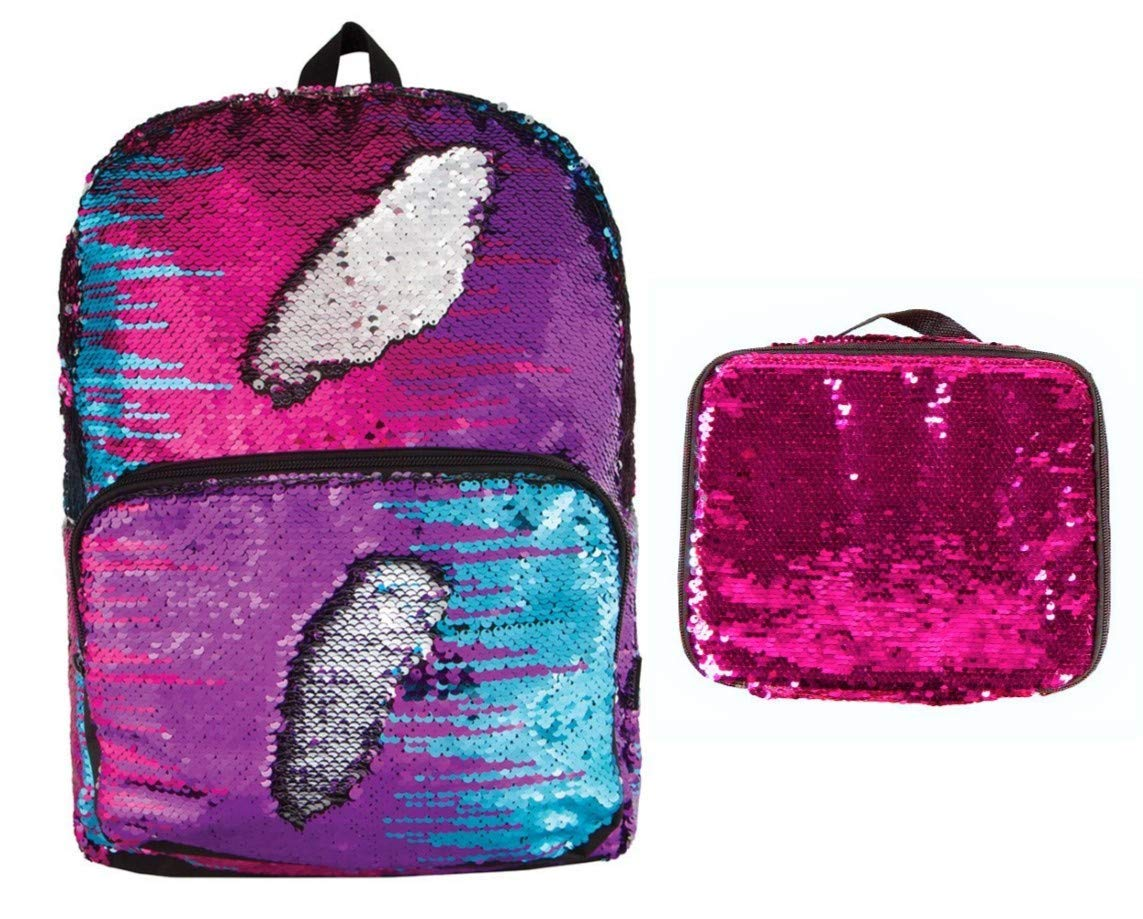 Style.Lab Magic Sequin Multi-Color Backpack w/Pink Sequin Lunch Tote