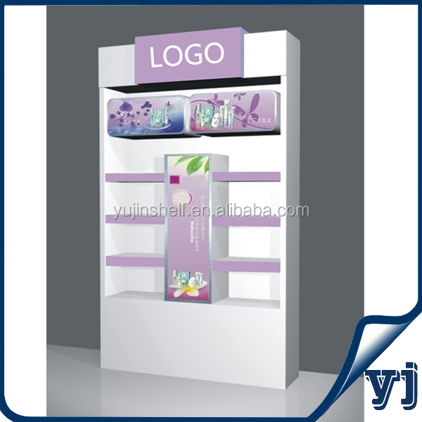 Beauty products display cabinet/Cosmetic shop counter design/ Beauty cosmetic wall display