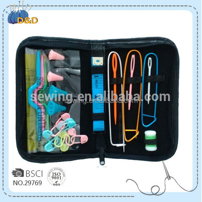 D&D knitting tool set PU zipper pouch knitting accessories knitting kits with yarn needles/stich holders/lock pin makers