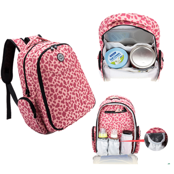 Hot Large Capacity Multifucitional Customized Pink Leopard Print Diaper Bag Backpack Mommy Set Of