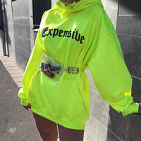Wholesale fashion long batwing sleeve fluorescent loose hoodies women casual sweatshirt pullover
