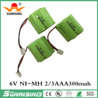 Rechargeable NI-MH 6V Batteries Recyclable 2/3aaa 300mAh Batteria Cell NiMH For Flashlight Electronic Toys