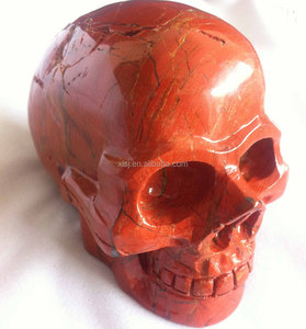 High Quality Natural Gemstone Bloodstone Skull Sculpture Decor