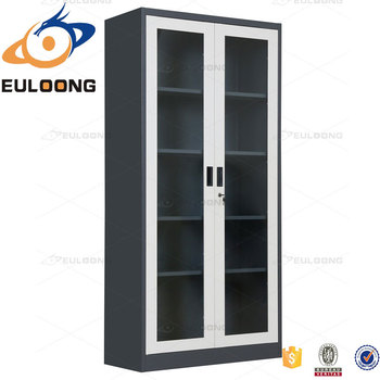 Modern Design Full Glass Door Steel Almirah For Library