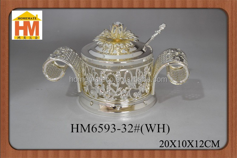 Turkish christmas decotation candy jars glass candy stroage bowl sugar pot with handle