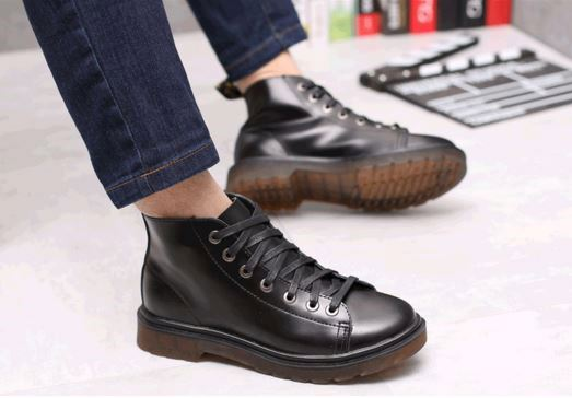 Hot sale winter fashion genuine leather boots for men