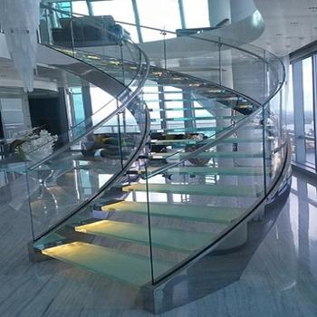 Modernes Treppenhaus Mit Gebogenem Design Und Glasgelander Buy