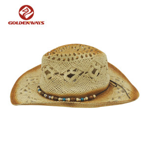 china factory high quality hard female summer american straw cowboy hat