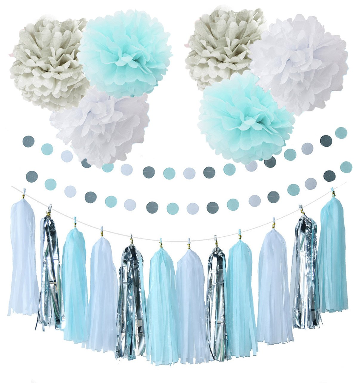 First Birthday Boy Decorations Baby Blue White Grey Party Tissue Paper Pom Tassel Garland Circle For