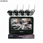 LSVISION 1.3M 960P Fixed Lens Bullet IP Camera Wireless Monitor System Cctv Camera Kit 4 CH with 10 Inch Touch Screen Monitor