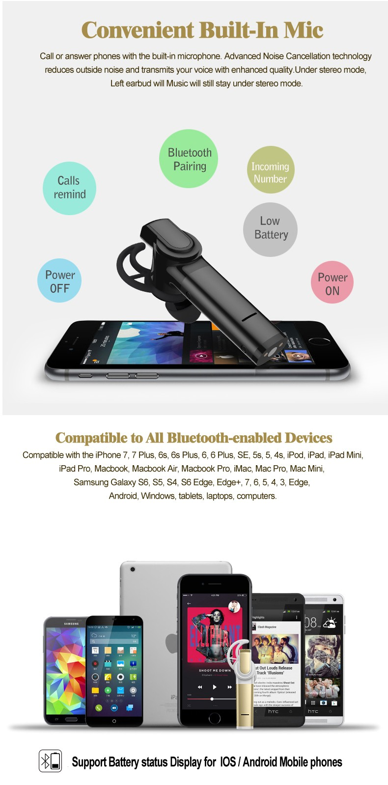 New coming wireless microphone Earphone in Car Headphone with CSR chipset