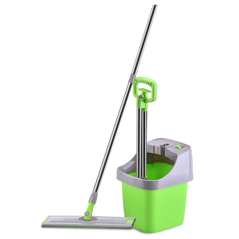 LWFB Mop and Bucket Set/Flat/Hand Wash Free/Spray Water/Scratch Hair/Wipe The Water/Three Effects Syncretic/Single Bucket/Rotate/Snap-type Mop Green