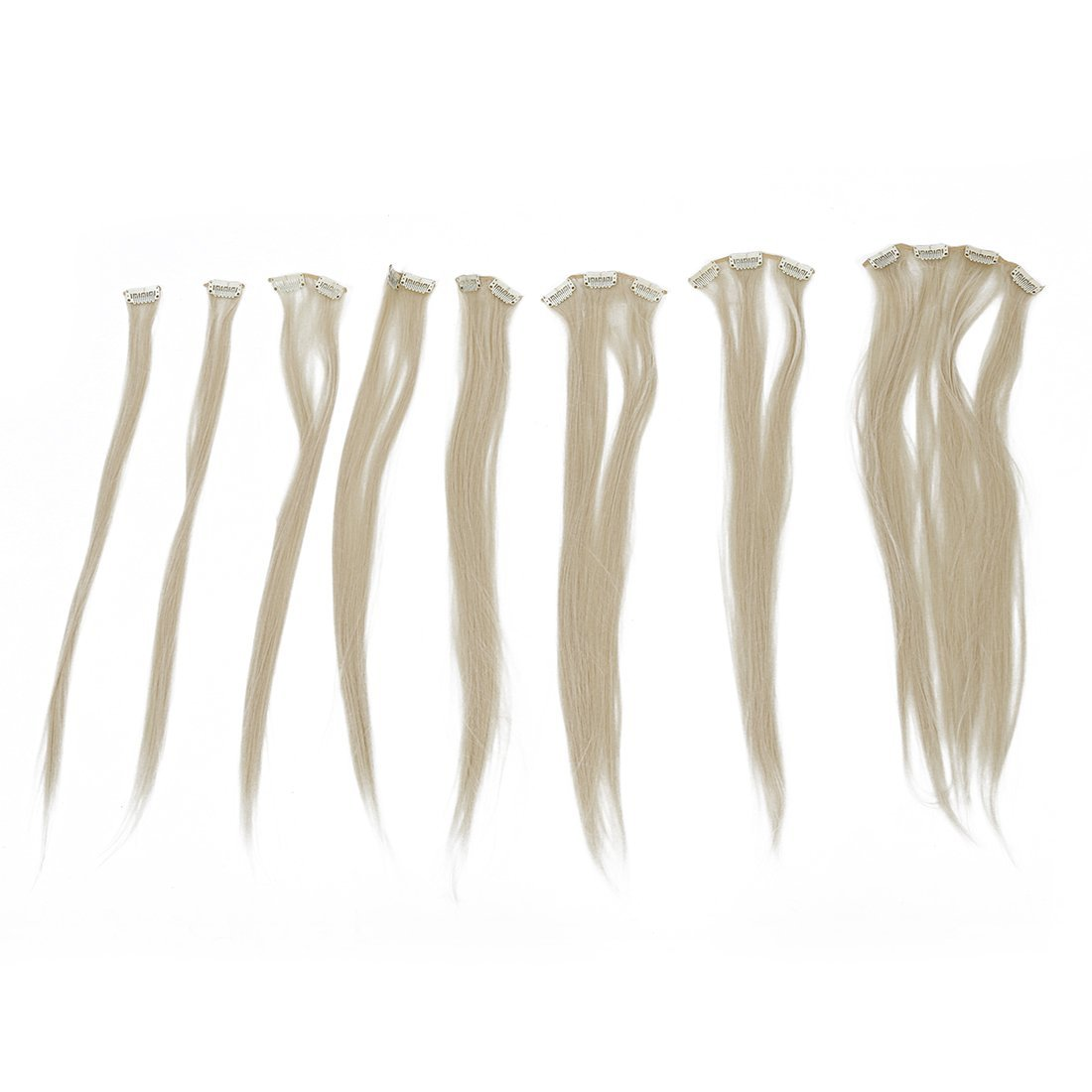 "TOOGOO(R) 8 24"" #613 Bleach Blonde Straight Full Head Clip In Synthetic Hair Extensions"