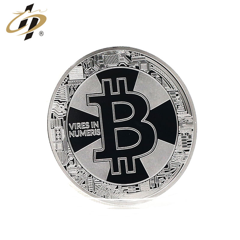 Hot sale promotional stamping silver bitcoin style gold make your own metal coins