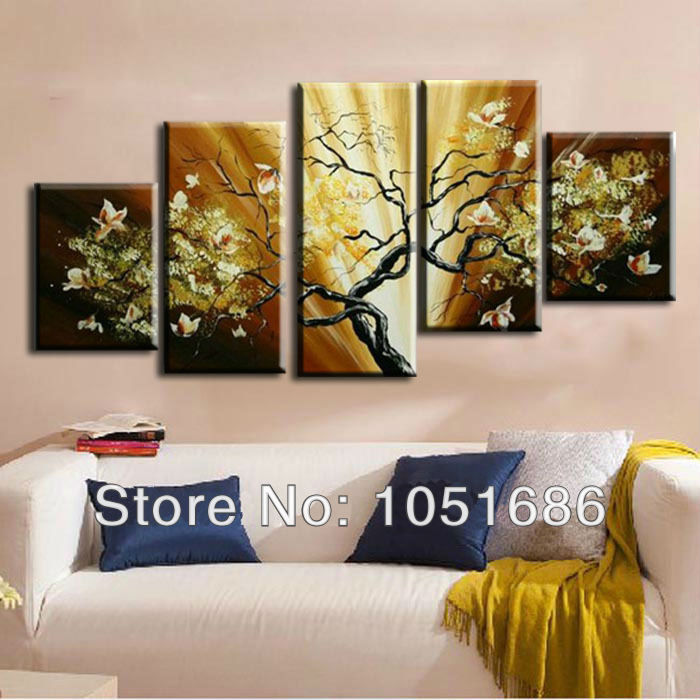 hand painted cheap 5 piece wall art oil painting flower abstract modern living room decoration. Black Bedroom Furniture Sets. Home Design Ideas