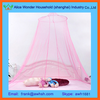 Pink White Round Lace Curtain Dome Bed Canopy Netting Princess Mosquito Net