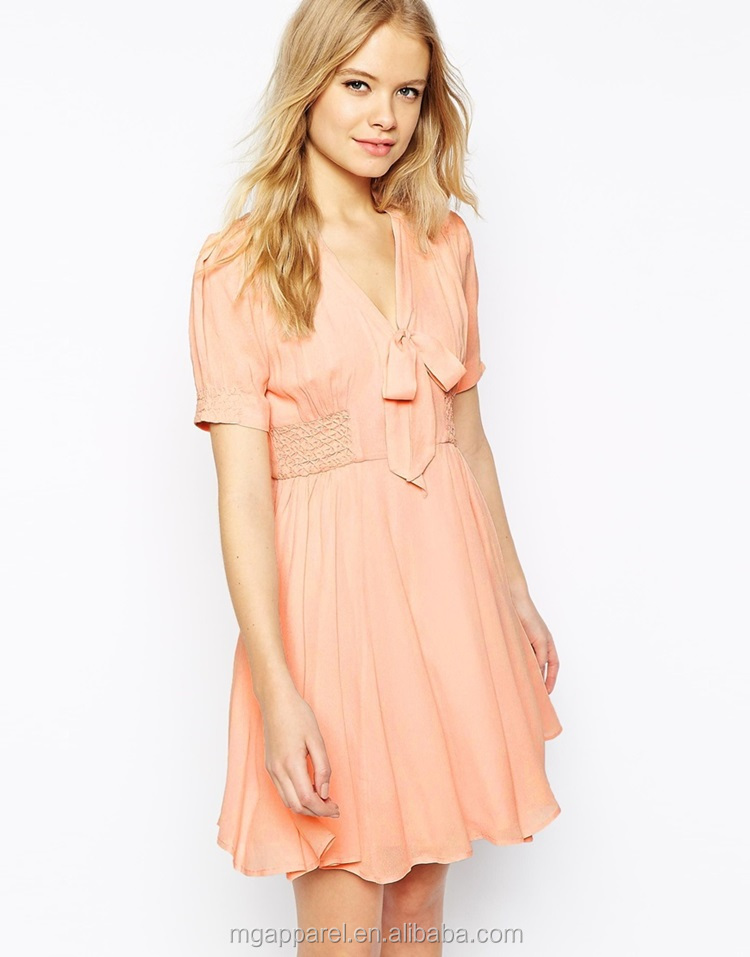 1429910a66520 100% Polyester Nice Design Clothes Women Casual Dress Girl Party Wear  Western Dress Pink Cap