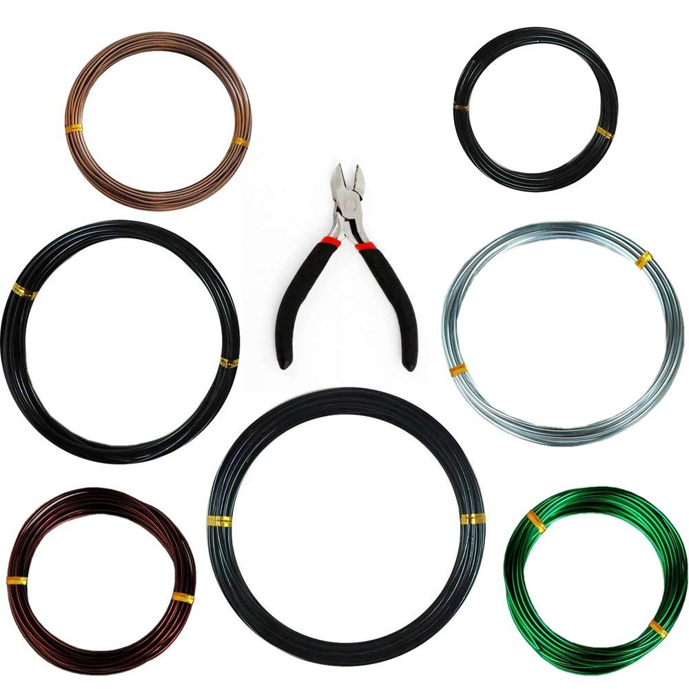 Anodized Aluminum Tree Training Wires, Bonsai Wire Cutter+1.0 mm(4 Pack, Each Size 32 ft/10 m),1.5 mm(2 Pack, Each Size 16 ft/5 m),2.0 mm(1 Pack, Each Size 16 ft/5 m)