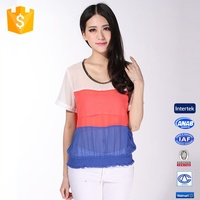 Color Combination Short Sleeve Chiffon Lady Top