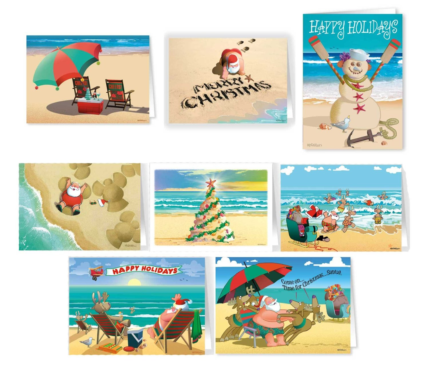 get quotations beach christmas card variety pack 24 cards envelopes 8 designs 3 cards - Beach Themed Christmas Cards