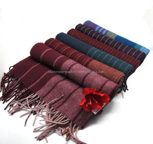 Top Selling Manufecturer Winter Woollen Pure Wool Scarves Stripe Muffler