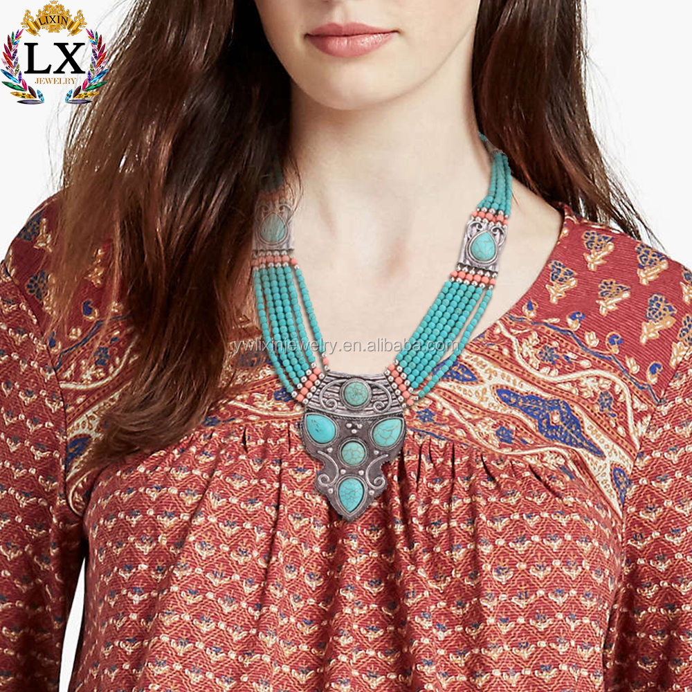 NLX-00227 Fashion colorful tribal india turquoise jewelry beads statement alloy necklace