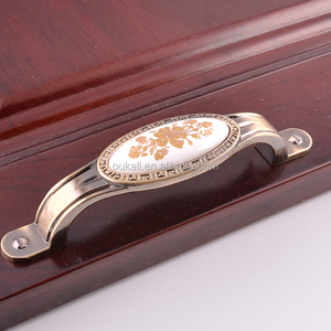 fashionable luxury eur-style usage bedroom furniture drawer kitchen door cabinet vintage gold flower marble stone ceramic handle