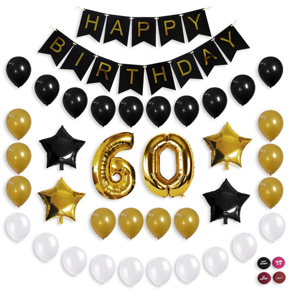 Get Quotations 60th Birthday Decorations Balloon Banner Party Supplies Office Gold